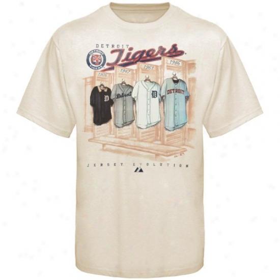 Detroit Tigers T Shirt : August Detroit Tigers Natural Cooperstown Jersey Evolution T Shirt
