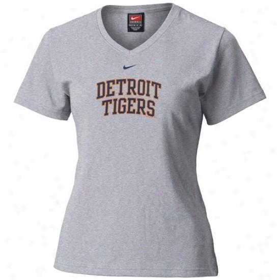 Detroit iTgers T-shirt : Nike Detroit Tigers Ash Ladies Ligature Arvhed Team Logo T-shirt