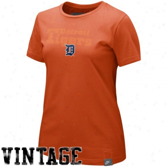 Detroit Tigers T-shirt : Nike Detroit Tigers Ladies Orange Wasehd Organic T-shirt