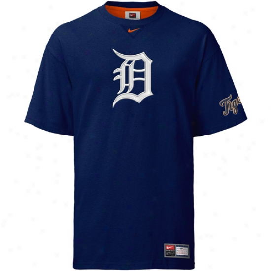 Detroit Tigers T-shirt : Nike Detroit Tigers Navy Logo Tackle T-shirt