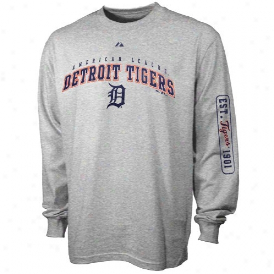 Detroit Tigers Tee : Majestic Detroit Tigets Ash Season Great Throughout Sleeve Tee