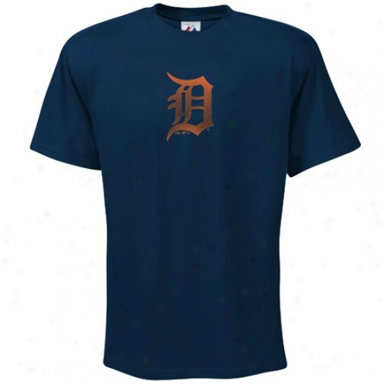 Detroit Tigers Tee : Majestic Detroit Tigers Navy Blue Fashion Fit Tee