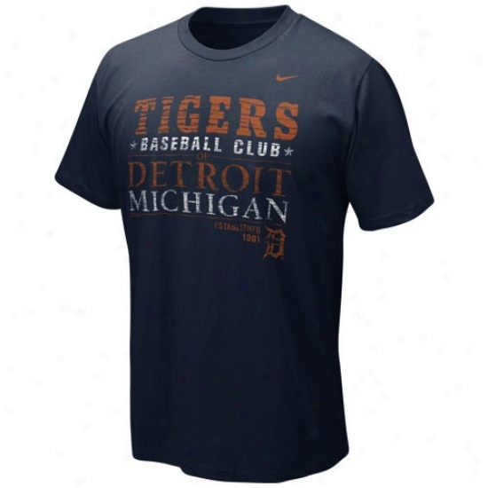 Detroit Tigers Tee : Nike Detroit Tigers Navy Blue Campaign Tee