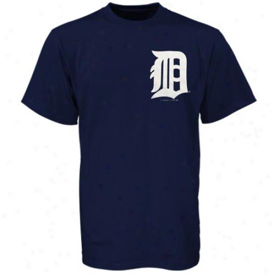 Detroit Tigers Tees : Majestic Detroit Tigers Navy Blue Wordmark Tees
