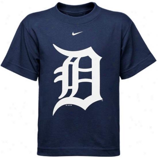 Detroit Tigers Tees : Nike Detroit Tigers Preschool Navy Blue Big Logo Tees