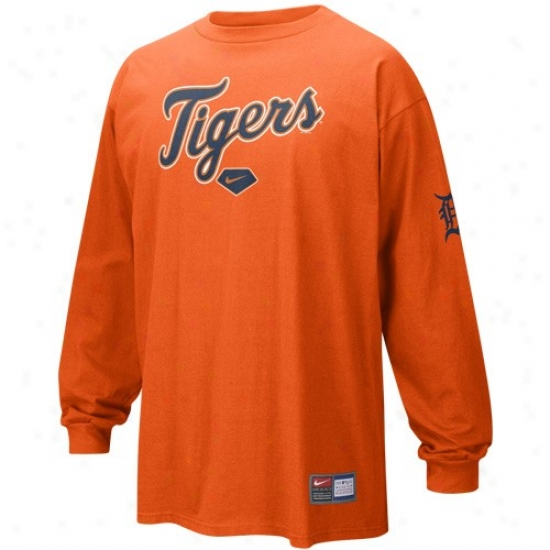 Detroit Tigers Tshirt : Nike Detroit Tigers Orange Practice Long Sleeve Tshirt