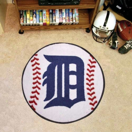 Detroit Tigers White Round Baseball Mat
