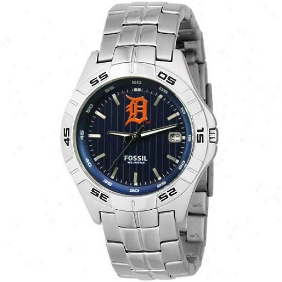 Detroit Tigers Wrist Wait : Fossil Detroit Tigers Men's Stainless Steel Analog Mlb Team Logo Wrist Watch