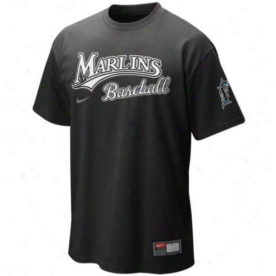 Florida Marlins Apparel: Nike Florida Marlins Black Mlb 2010 Practice T-shirt
