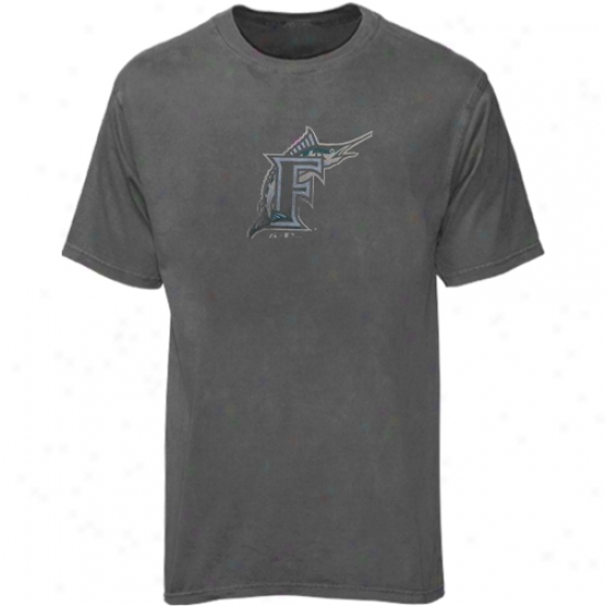 Florida Marlins Attire: Majestic Florida Marlins Heather Charcoal Big Time Play T-shirt