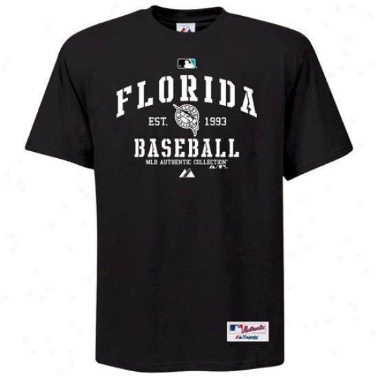 Florida Marlins Attire: Majestic Florida Marlins Black Ac Classic T-shirt