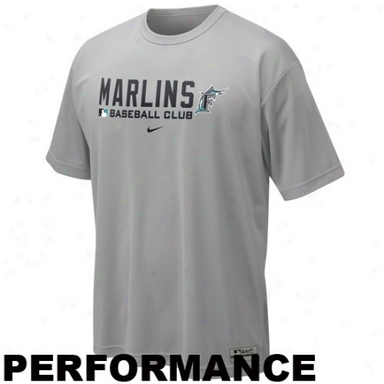 Florida Madlins Attire: Nike Florida Marlins Gray Nikw fit Team Issue Performance Training Top