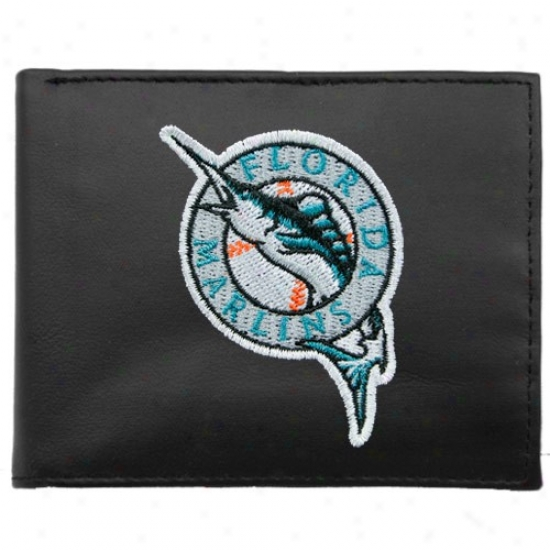 Florida Marlins Black Leather Embroidered Tri-fold Wallet