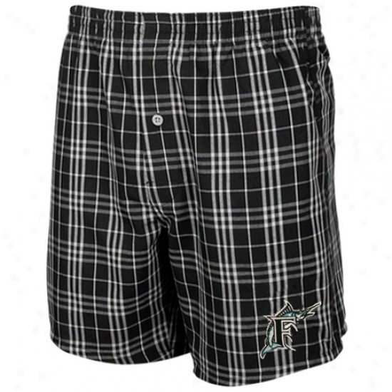 Florida Maarlins Black Plaid Event Boxer Shorts