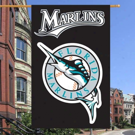 Florida Marlins Flag : Florida Marlins Black Vertical Applique Flag