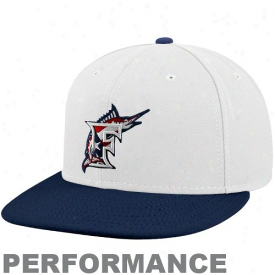 Florida Marlins Gear: New Era Florida Marlins White-navy Blue Stars & Stripes On-field 59fifty Fitted Performance Hat