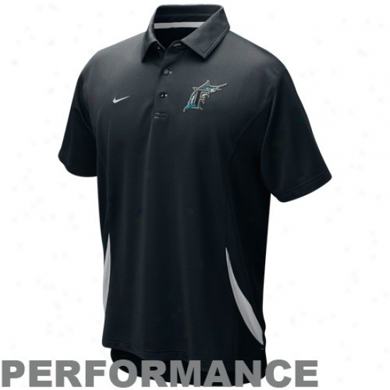 Florida Marlins Golf Shirts : Nike Florida Marlins Black Mlb Dri-fit Performance Golf Shirts