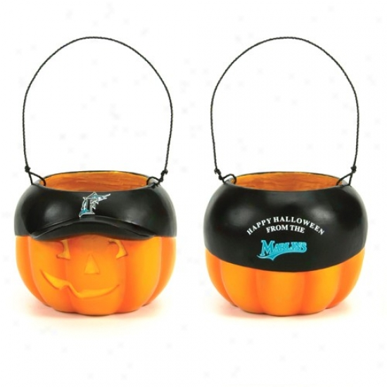 Florida Marlins Halloween Pumpkin Team Logo Hat Candy Pail