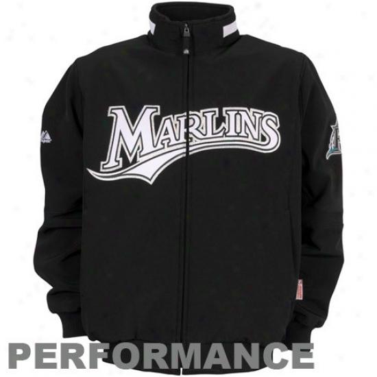 Florida Marlins Jackets : Majestic Florida Marlins Black Therma Base Premier Elevation Performance Jackets
