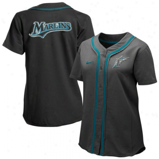 Florida Marlins Jerseys : Nike Florida Marlins Ladies Charcoal Batter Up Full Button Jerseys