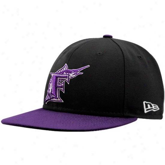 Florida Marlins Merchandise: New Era Florida Marlins Black-purple 2 Tone Fitted Hat