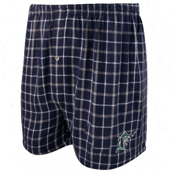Florida Marlins Navy Blue Gridiron Flannel Boxer Shorts
