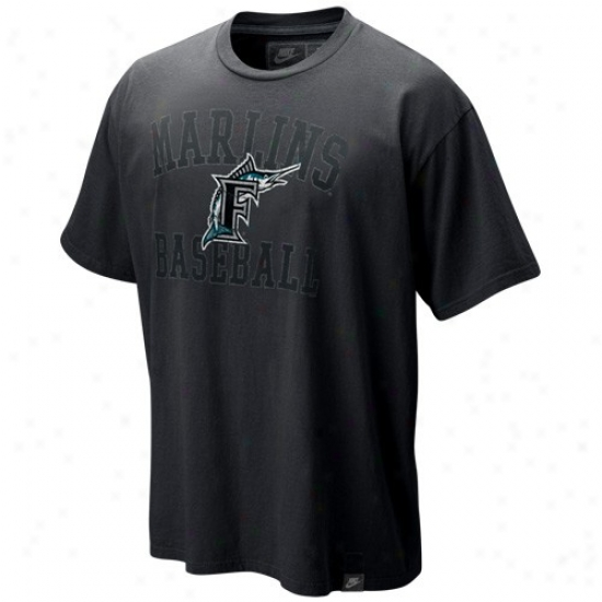 Florida Marlins Shirts : Nike Florida Marlins Black Soutypaw Organic Vintage Washed Shirts