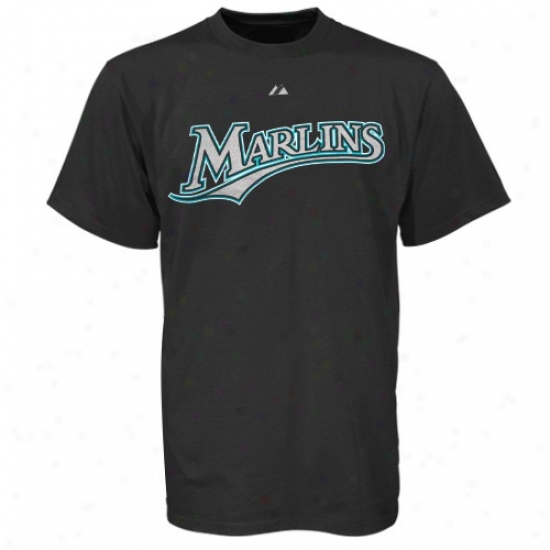 Florida Marlins T-shirt : Majestic Florida Marlins Black Wordmark T-shirt