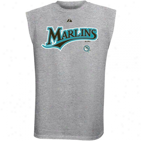 Florida Marlins Tees : Majestic Florida Marlins Ash Serues Swee pSleeveless Tees