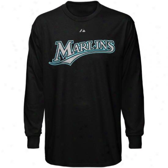 Florida Marlinss Tshirts : Majestic Florida Marlins Black Wordmark Long Sleeve Tshirts