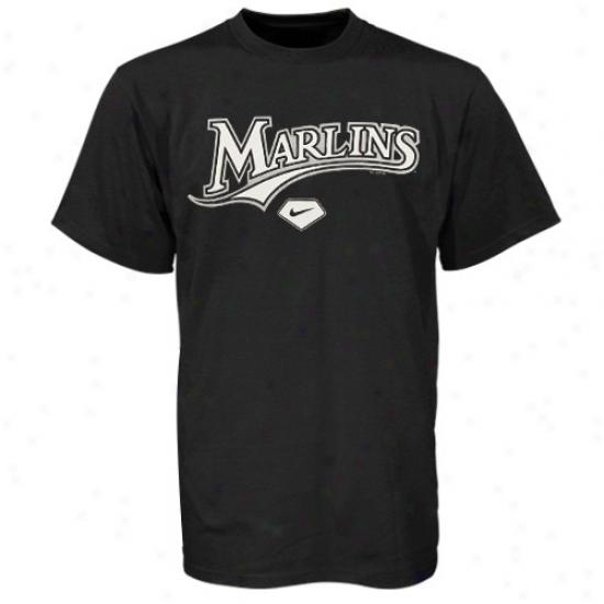 Florida Marlins Tshirts : Nike Florida Marlins Youth Black Practice Tshiirts
