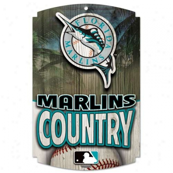 Florida Marlins Wood Sign