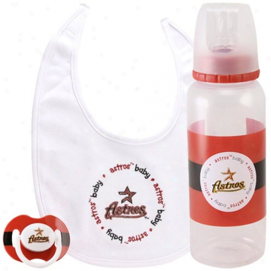 Houston Astros 3-piefe Pacifier, Bib & Bottle Gift Set