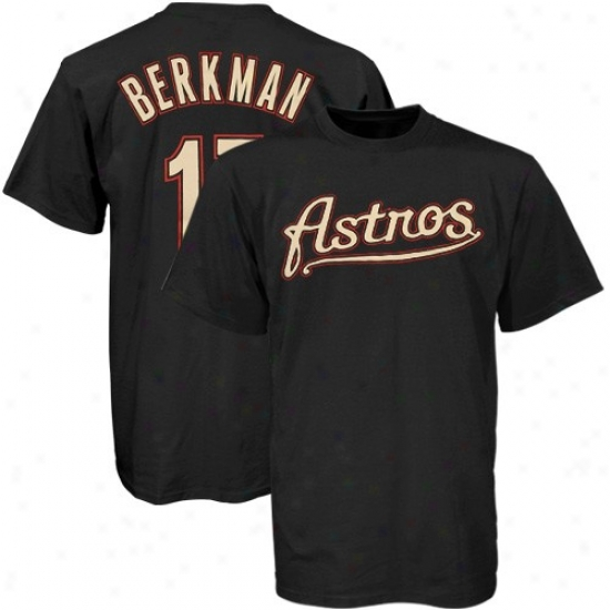 Houston Astros Apparel: Majestic Houston Astros #17 Lance Berkman Youth Black Players T-shirt