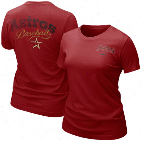 Houston Astros Attire: Nike Houston Astros Ladies Crimson Graphic Tri-blend T-shirt