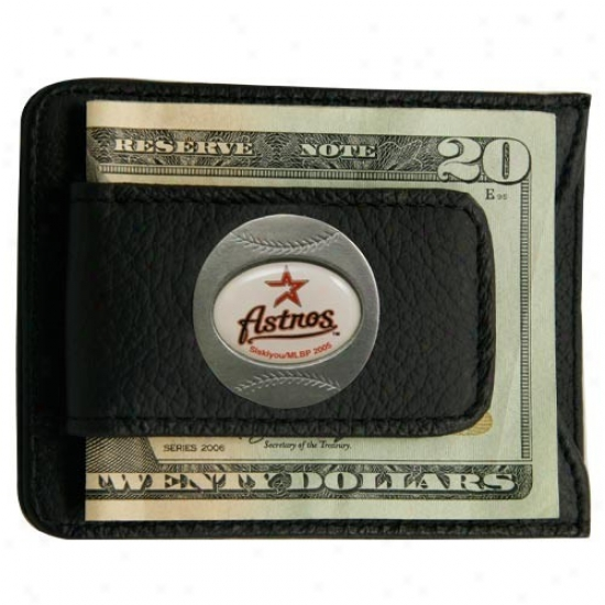 Houston Astros Black Leather Card Holder & Money Clip