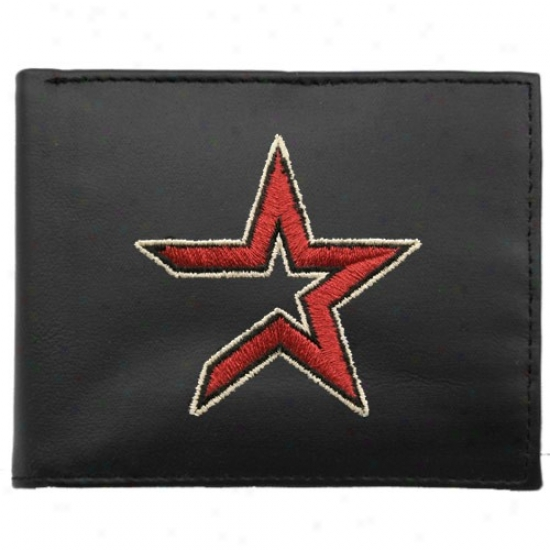 Houston Astros Black Leather Embroidered Tri-fold Wallet