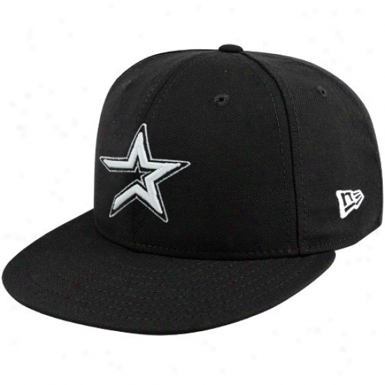 Houston Astros Hat : New Era Houston Astros Black League Basoc Fitted Hat