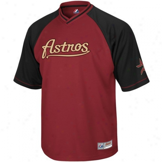 Houst0n Astros Jersey : Majestic Houstkn Astros Brick Red-bkack Comprehensive Force V-neck Jersey