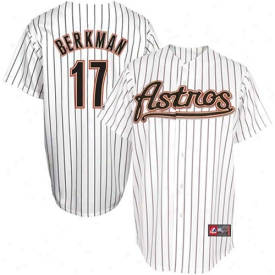Houston Astros Jersey : Majestic Lance Berkman Houston Astros Replica Jersey-#17 White Pinsfripe