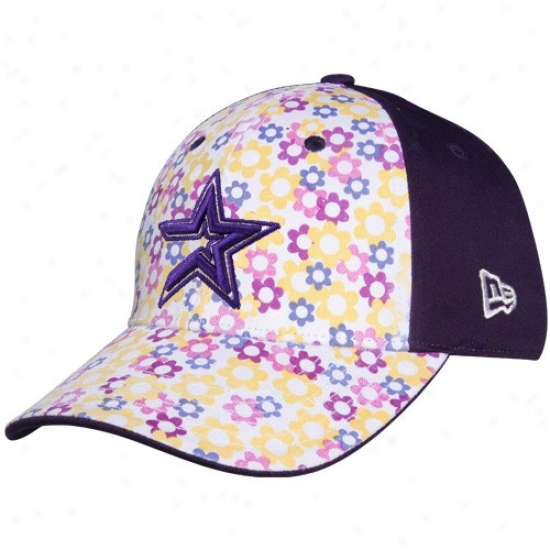 Houston Astros Merchandise: New Era Houston Astros Boy Girls Purple-white Just Add Sun Adjustable Hat