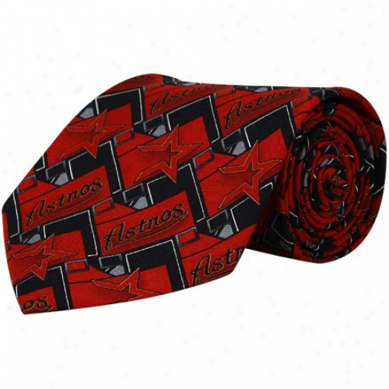 Houston Astros Red-black Block Pattern Tie