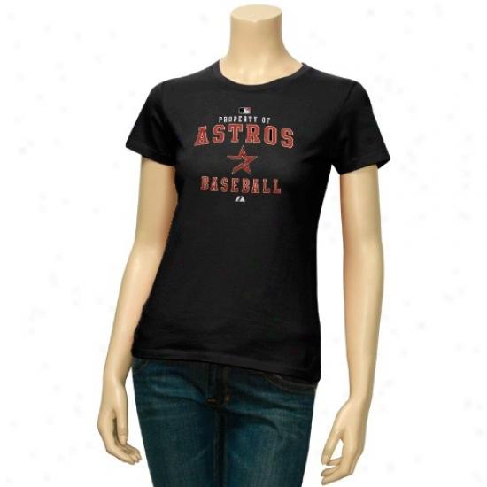 Houston Astros T-shirt : Majestic Houston Astros Ladies Black Property Of T-shirt