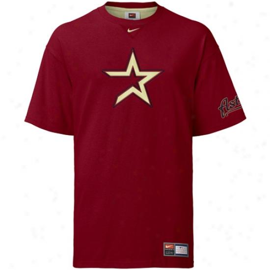 Houston Astros Tee : Nike Houston Astros Crimson Logo Tackle Tee