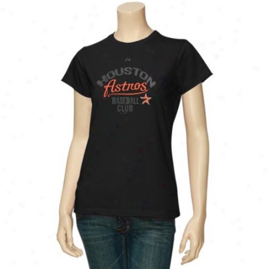 Houston Astros Tshirt : Majestic Houston Astros Ladies Black Club Sunburst Tshirt