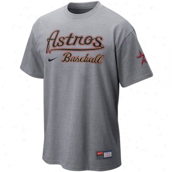 Houston Astros Tshirts : Nike Houston Astros Ash Mlb 2010 Pratice Tshirts