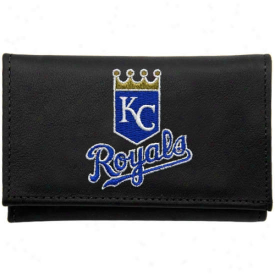 Kansas City Royal sBlack Embroidered Trifold Wallet