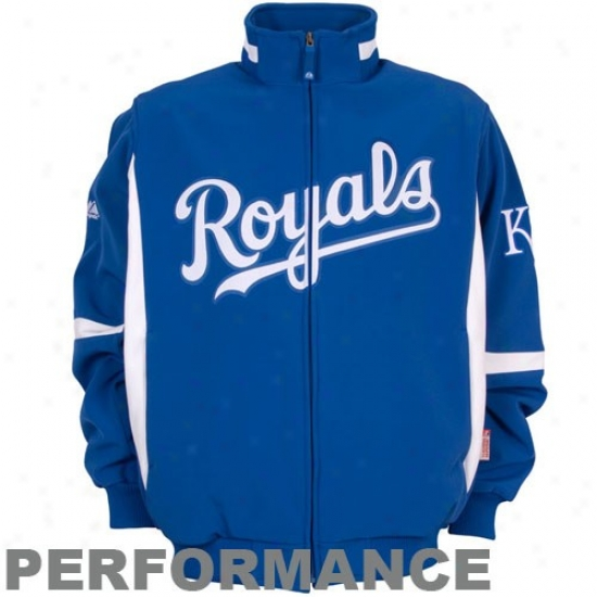 Kansas City Royals Jacket : Majestic Kansas City Royals Royal Blue Therma Base Premiier Elevation Performance Jacket