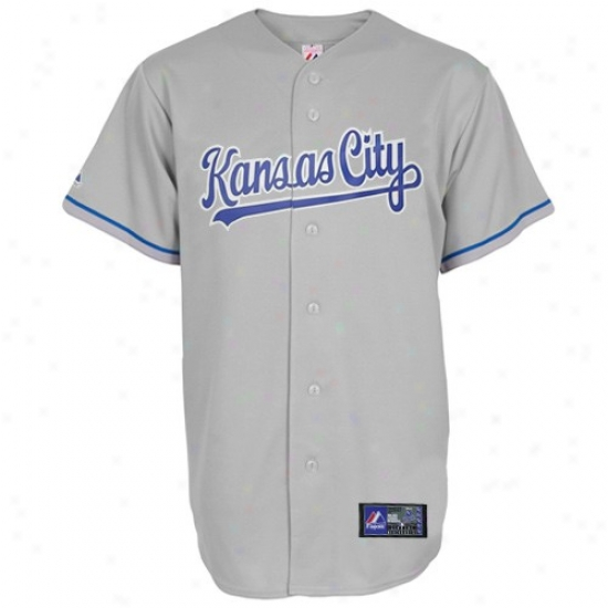 Kansas City Royals Jersey : Majestic Kansas Cit Royals Gray Replica Baseball Jersey