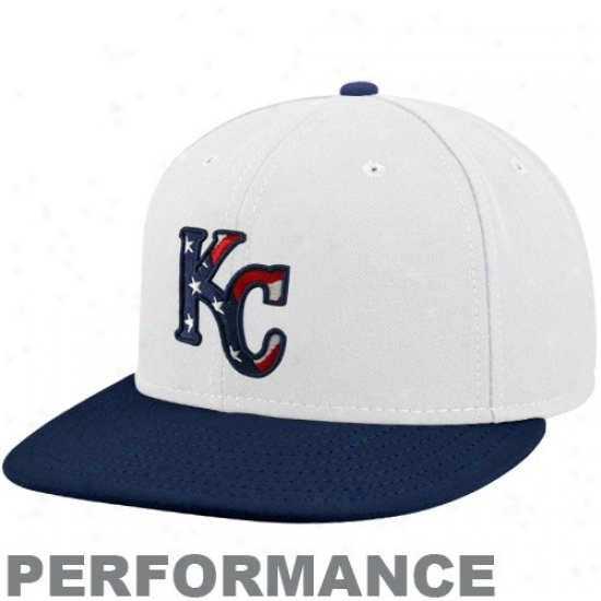 Kansas City Royals Merchandise: New Era Kansas City Royals White-navy Blue Stars & Stripes On-field 59fifty Fitted Action Hat